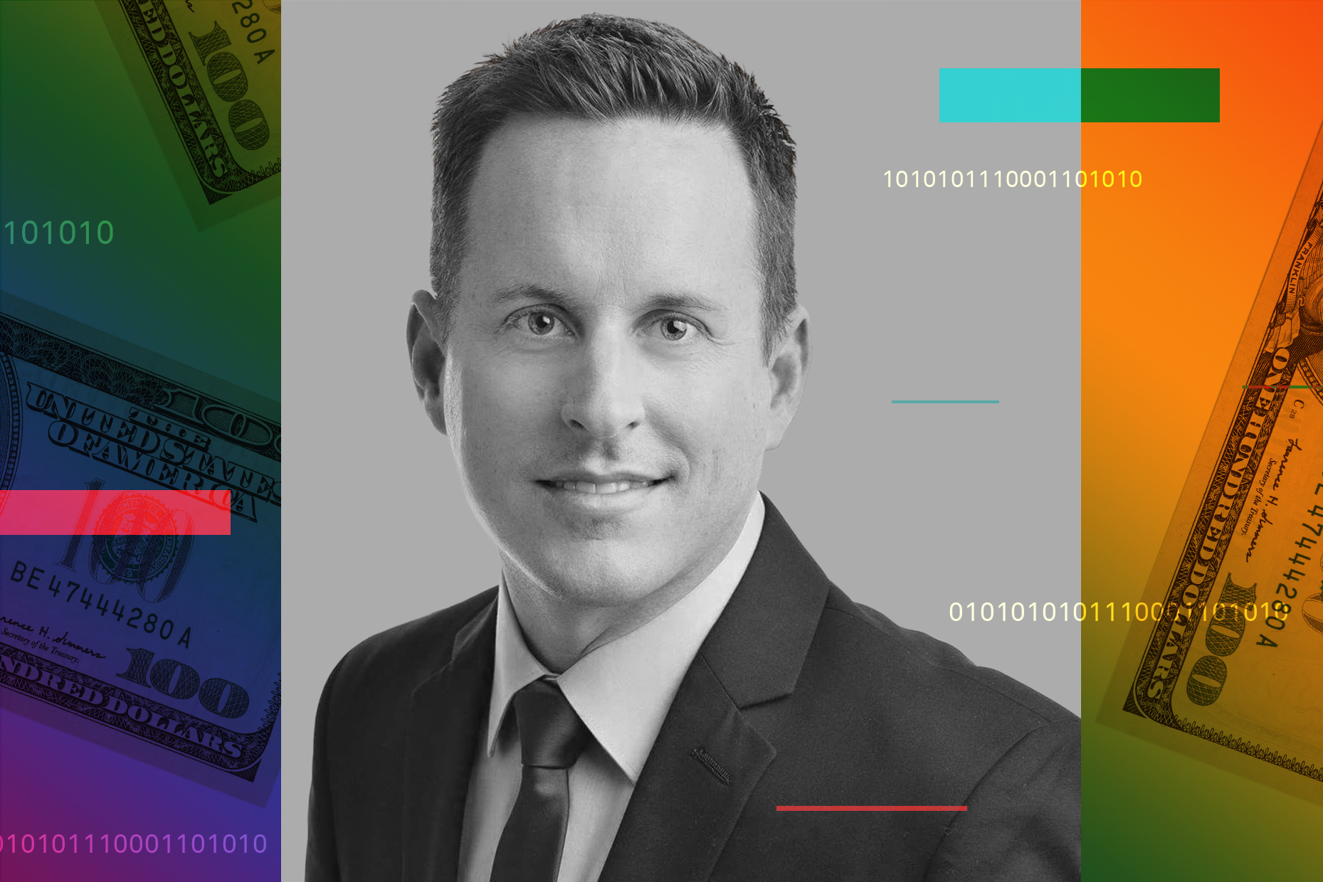 Photograph of Thomas Nitzsche over a rainbow colored background and hundred dollar bills