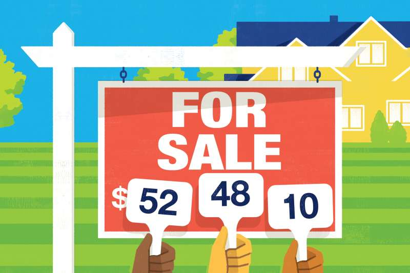 Bidding price that makes up the price of the house