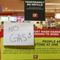 Sign saying No Gas at Atlanta service station on Tuesday night May 11, 2021