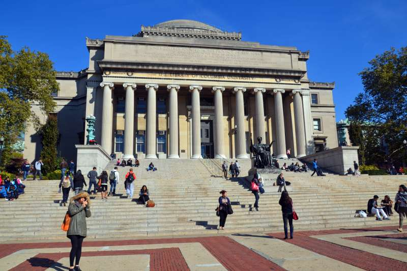 Photograph of students on the steps of the Columbia University Library