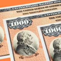 Photograph of three $1000 U.S. Savings Bonds