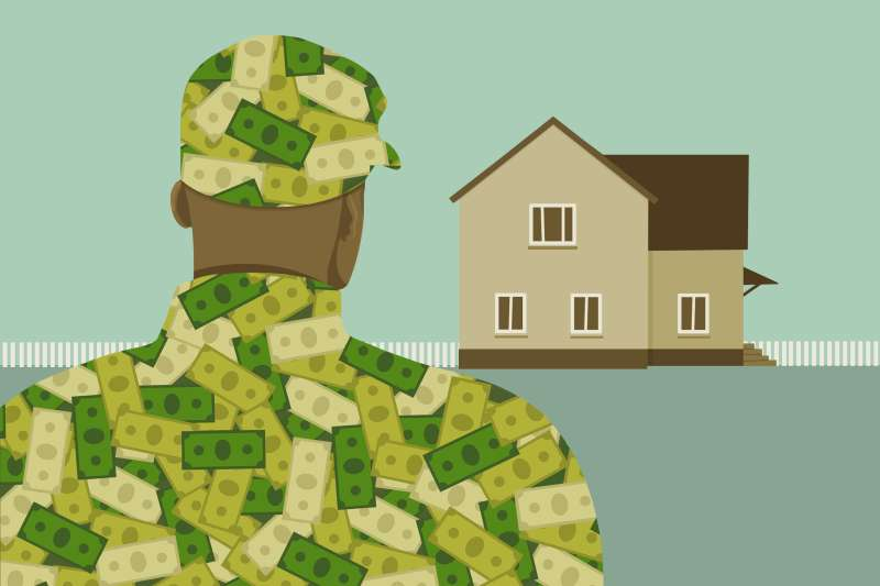 A veteran with money camo on, contemplating a down payment on a house