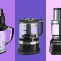 Three food processors on a colored background