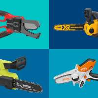 Four Mini Chainsaws on a colored background