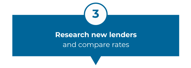 Research new lenders and compare rates