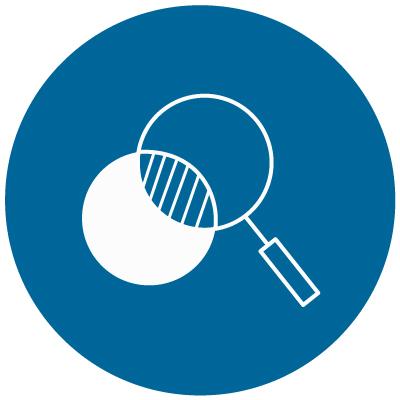 Magnifying glass looking through circle