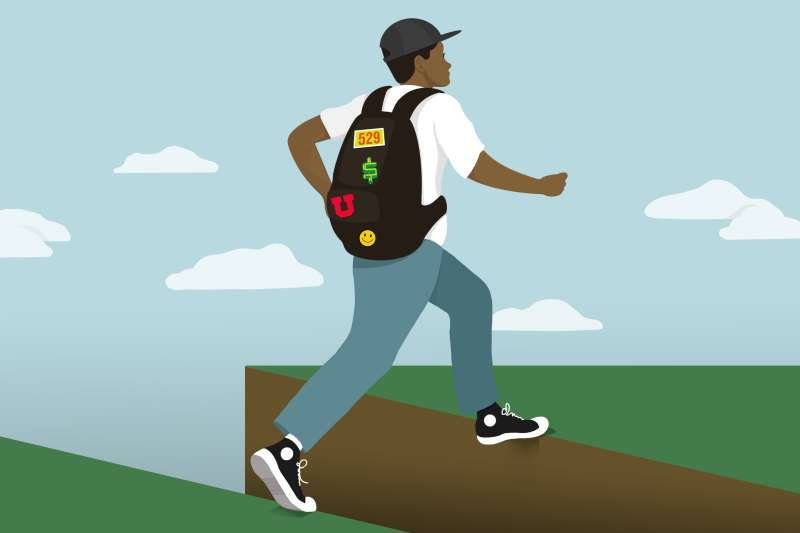 A college kid with various patches on his backpack (representing the 529 savings plan) leaping over a cliff edge.
