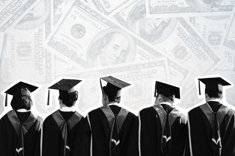 Collage of a row of students in graduation gowns with fading hundred dollar bills in the background