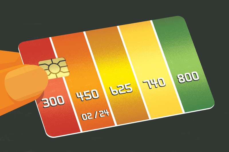 A person is holding a credit card with credit scores strips.