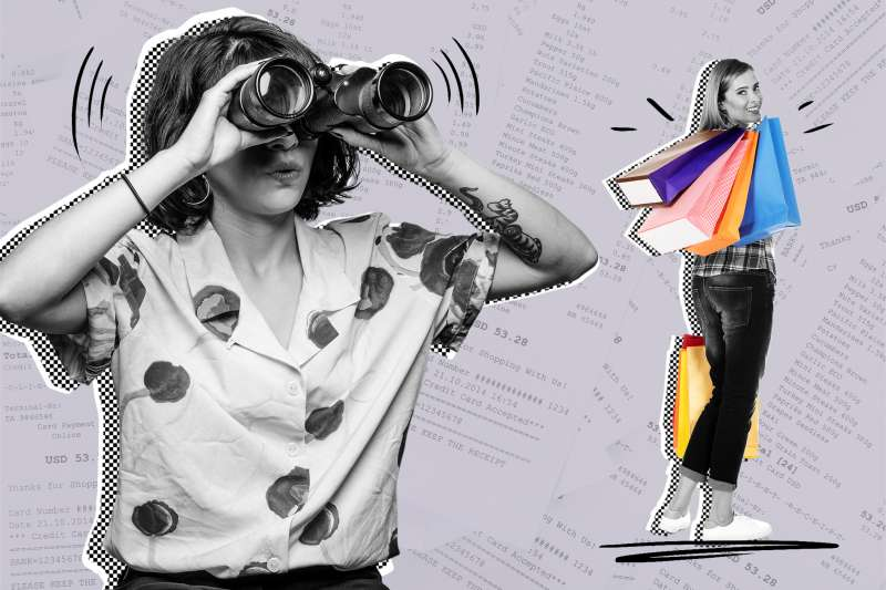 Woman with binoculars spying on someone with a lot of shopping bags, over a background of multiple receipts