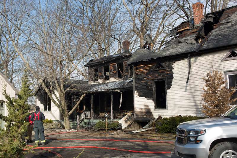House partially destroyed by fire damage