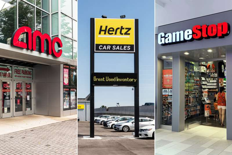 Photo Triptych of an AMC Theater, Hertz Car Agency and Game Stop shop