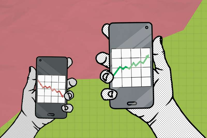 Illustration of two hands holding smart phones with stock graphics, one in negative and one in positive.