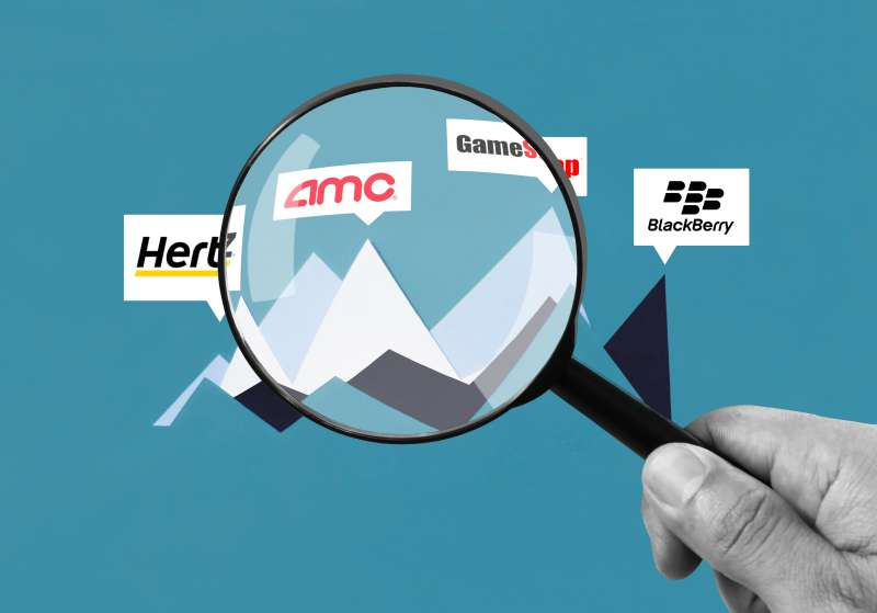 A hand holding a magnifying glass inspecting AMC, Hertz, GameStop and BlackBerry Stocks