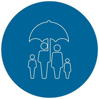family under an umbrella icon