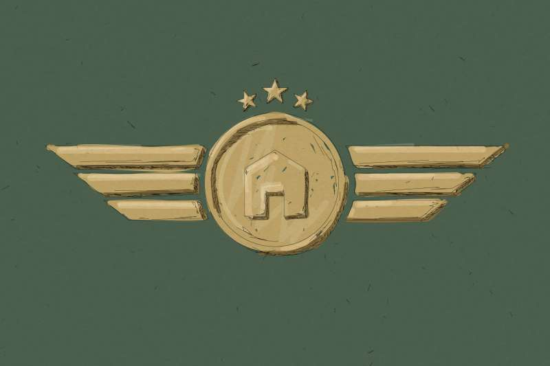 Military Badge With A House Icon In The Center