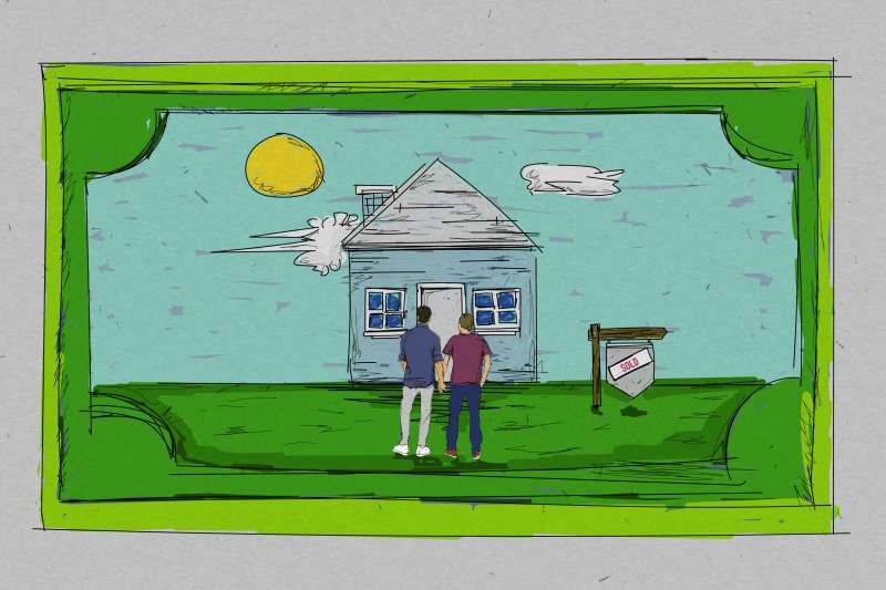 A Picture Frame In The Shape Of A Dollar Bill With A Couple Inside Looking At A House With A Sold Sign