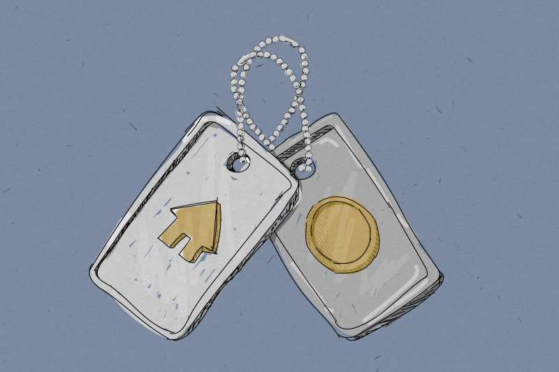 Military Dog Tags With House And Coin Icons