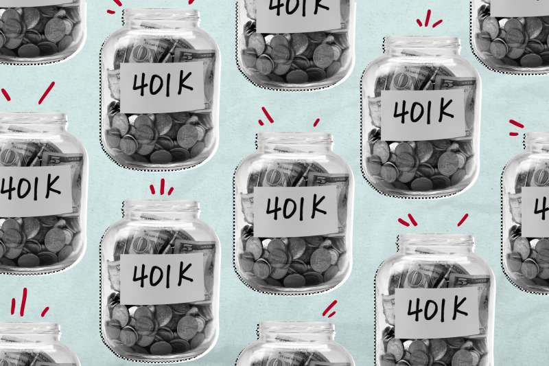 Multiple glass jars full of money with a  401K  sign in the front