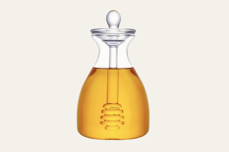 Honey Jar with Dipper Glass Made Honey Dipper