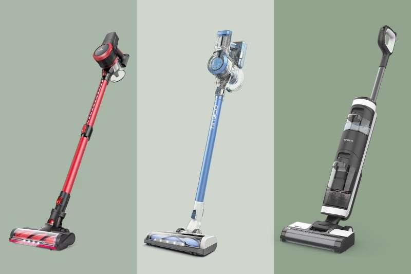 MOOSOO Cordless Vacuum Cleaner, Tineco A11 Hero Cordless Vacuum, Tineco Floor One S3 Vacuum on a colored background