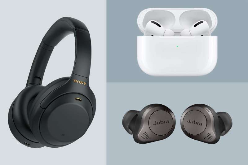 Sony-WH-1000XM4-Wireless Headphones, Apple AirPod Pro, Jabra Elite 75t Earbuds on a colored background