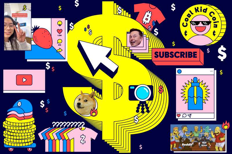 Graphics of dollar signs, t-shirts, coins, clothing rack, baseball cap, doge coin dog, CBD oil, The Simpsons, Elon Musk, Ash Xu's TikTok Screen Shot with big dollar signs in the background.