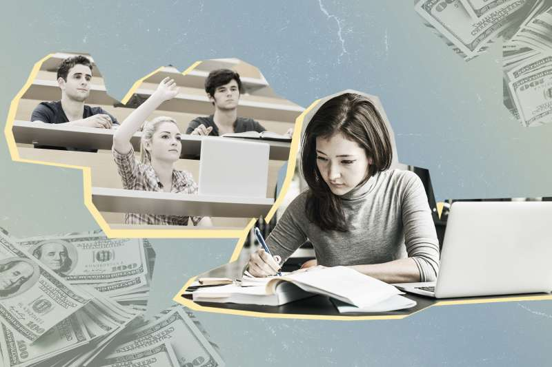 Collage of students studying with stacks of hundred dollar bills in the background