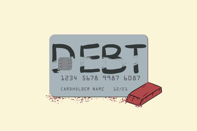 Illustration of a credit card with the word  Debt  written on it, partially erased