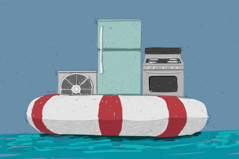 Home Appliances On Top Of A Large Life Saver