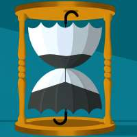 A hourglass is made of two umbrellas.