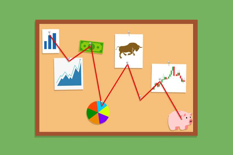 Mystery investigation boards with a red string connecting to investing components, such loose charts, piggy bank, and money bill.
