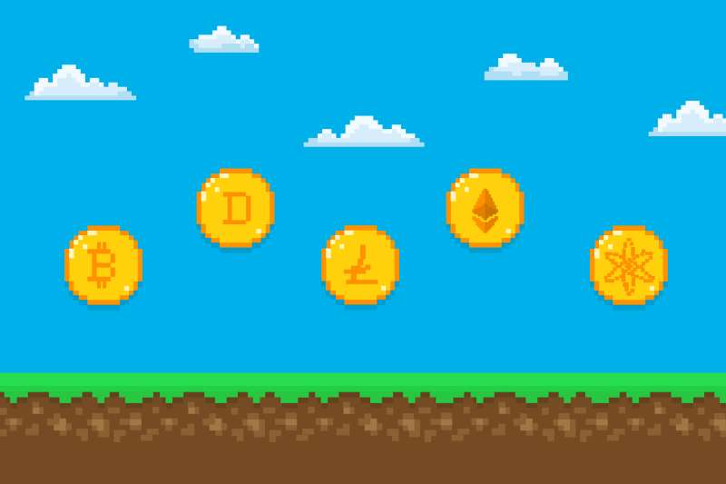 A generic, 8bit video game background with crypto coins lined up to collect.