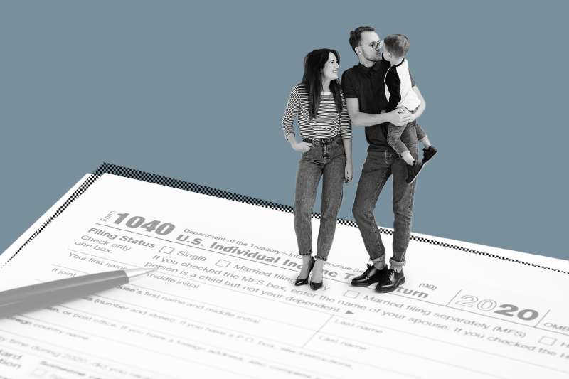 Collage of a wife and husband with their young son standing on a 1040 Tax form