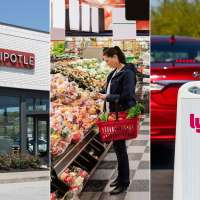 Triptych of Chipotle Mexican Grill, a woman shopping for groceries and a Lyft sign with a car in the background