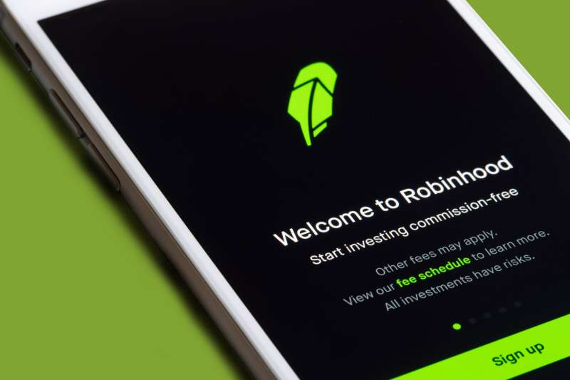 Close up of a phone with the Robinhood app open