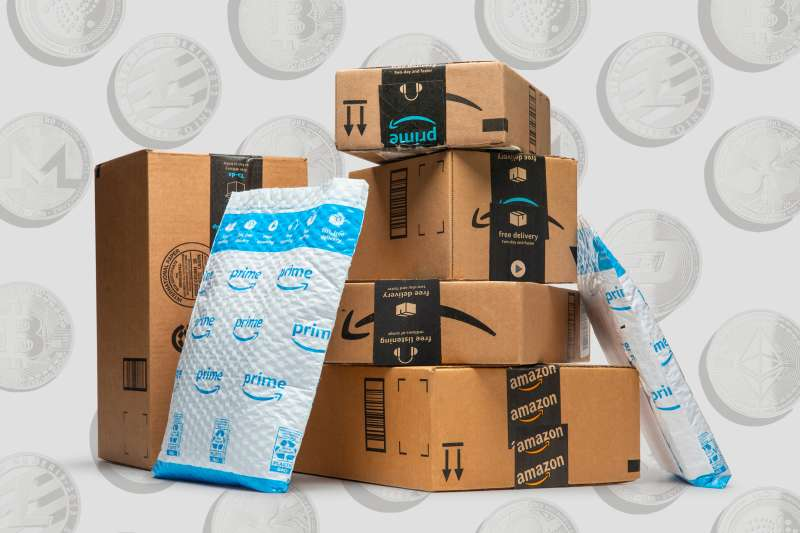 Multiple Amazon delivery boxes with cryptocurrency coins in the background
