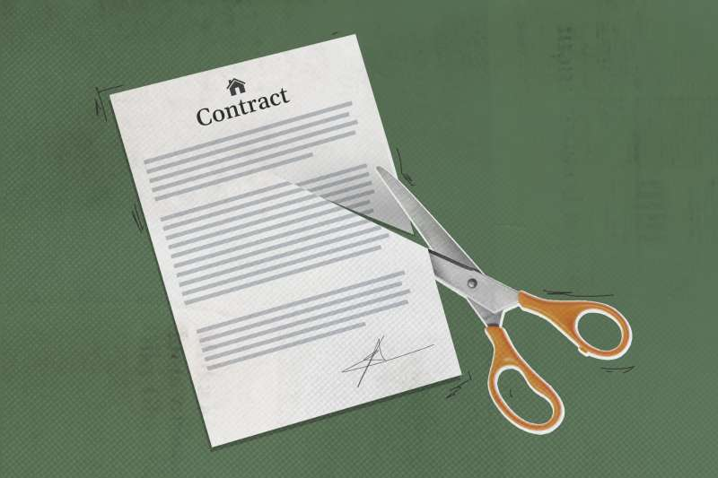 Scissors Cutting Up Contract Document