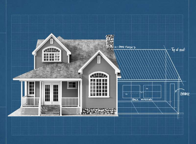 Collage of a house with an architectural drawing of a home extension on a blueprint background