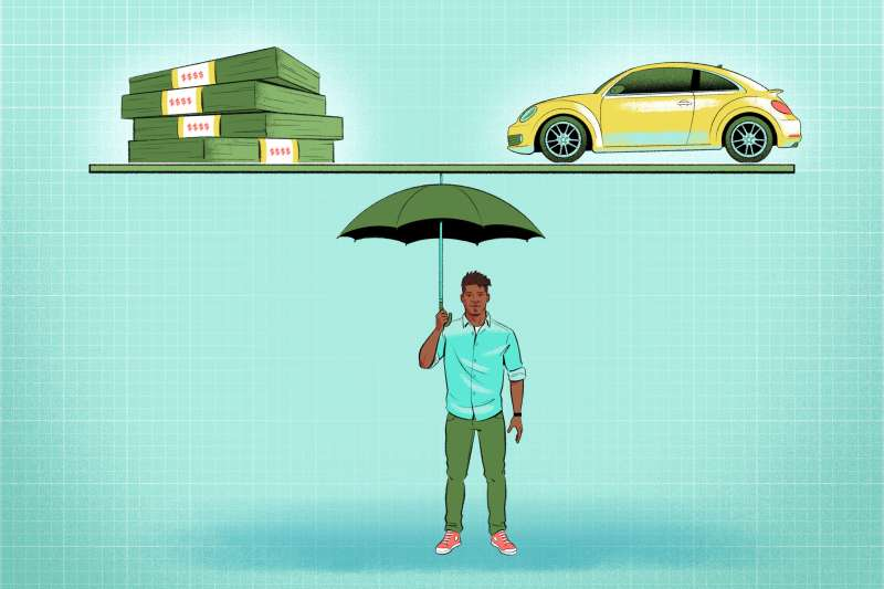 A guy holding an umbrella that is holding both stack of cash and a car.