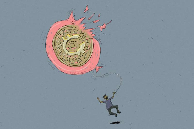 Man Flying Away While Holding An Oversized Bursting Balloon With A Crypto Symbol