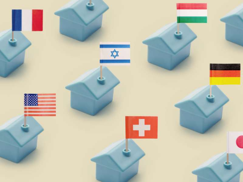 Row of miniature plastic houses with toothpick flags from Israel, France, Germany, Japan, Hungary, and the United States of America