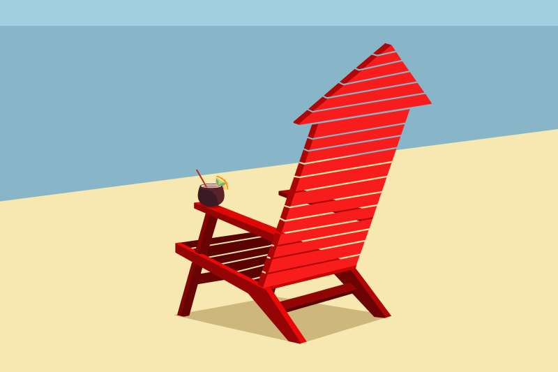 A retiree's beach chair that is in the shape of an upward arrow (representing inflation)
