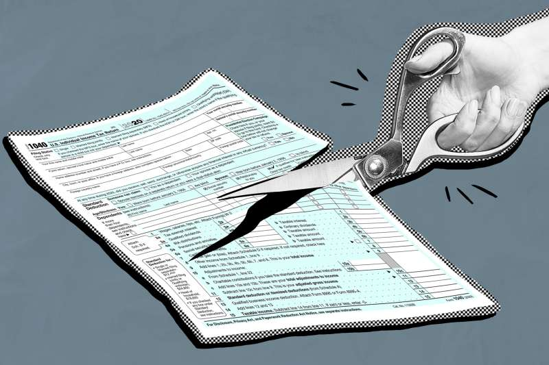 Collage of a hand cutting a 1040 Tax Form with a pair of scissors