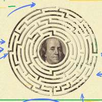 Money maze puzzle with arrows