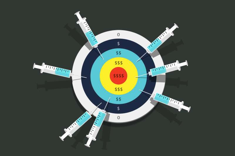 A bullseye covered in unused vaccines, and how much it could cost the person insurance wise.