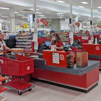 Row of registers at a Target store