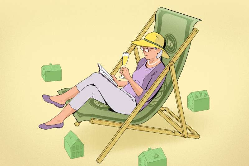 A retiree is reading on a money hammock long chair, with her house toys.