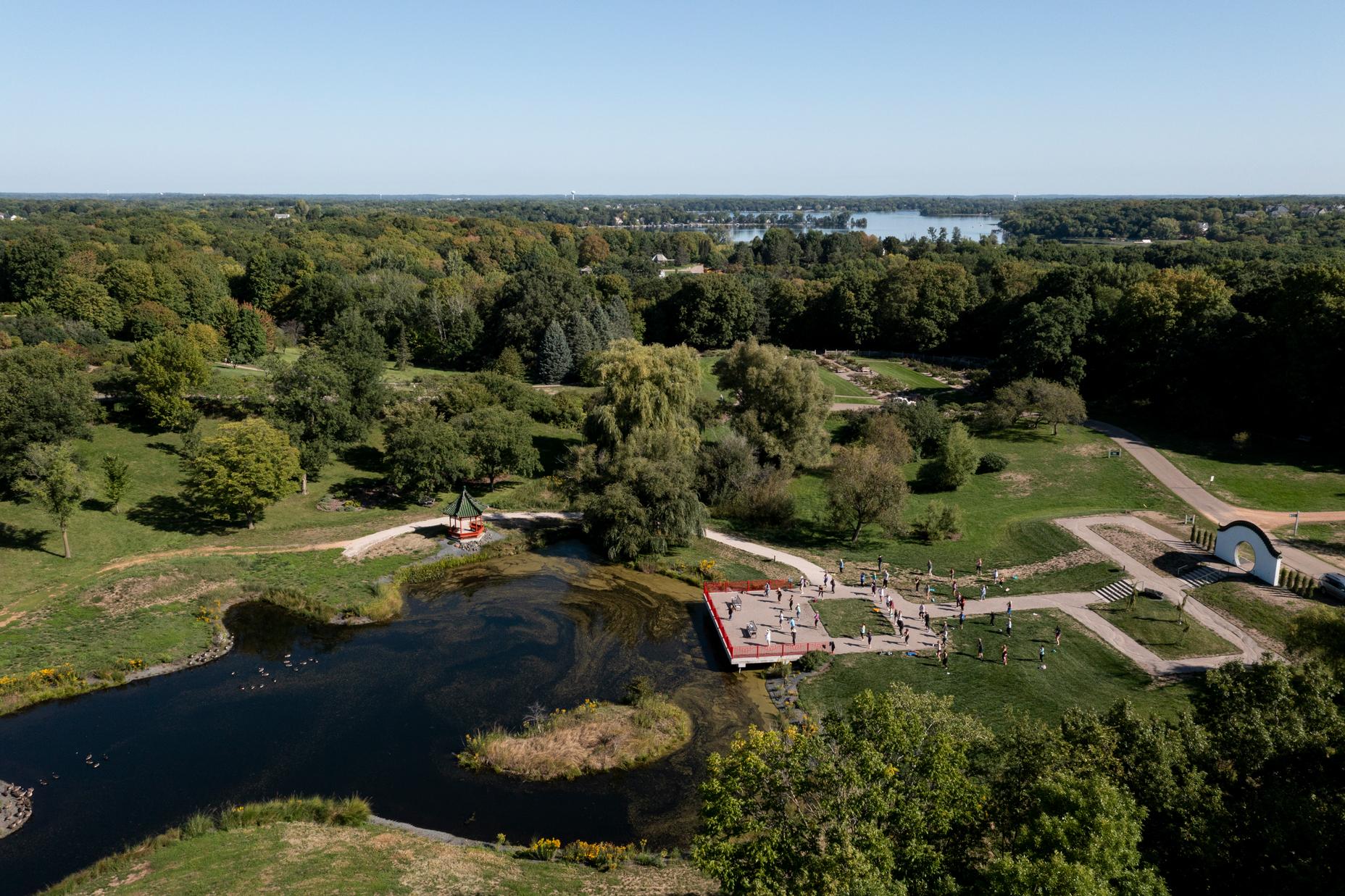 Aerial view of the Arboretum in Chanhassen Minnesota