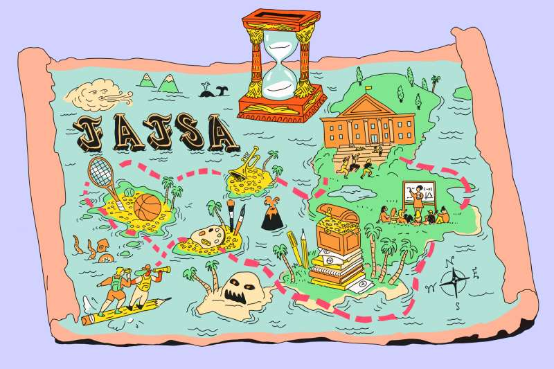 A treasure map with all kinds of college activities.